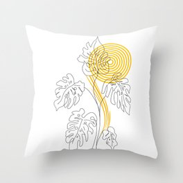 Monstera line Art Throw Pillow