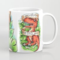 t rex Mugs featuring T-Rex by Little Lost Forest