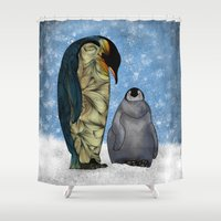 michael clifford Shower Curtains featuring Emperor Penguins by Ben Geiger