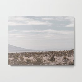 Blue Mountain Mojave // Vintage Desert Landscape Cactus Plants Nature Scenery Photograph Decor Metal Print