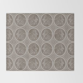 Grisaille Chestnut Brown Neo-Classical Ovals Throw Blanket