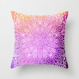 mandala on pink texture Throw Pillow