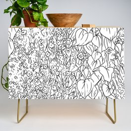 Great Prairie with Sunflowers in Black and White Credenza