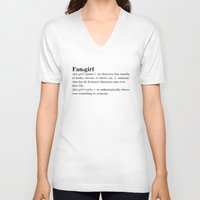 fangirl V-neck T-shirts featuring fangirl by maysillee