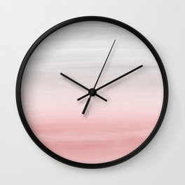Touching Blush Gray Watercolor Abstract #1 #painting #decor #art #society6 Wall Clock