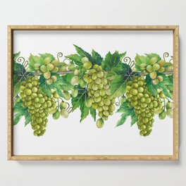 Watercolor bunches of white grapes hanging on the branch Serving Tray