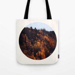 Mid Century Modern Round Circle Photo Graphic Design Autumn Orange Forest Hill Tote Bag