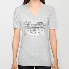 retro tape recorder illustration, cassette player drawing, 80s radio Unisex V-Neck