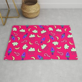 Doddles spacecrafts clouds and moon in pink space pattern Rug