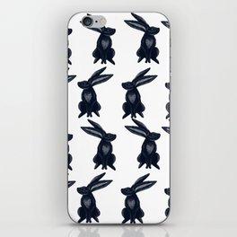 Rabbit Galore Pattern in Dark Blue and White iPhone Skin