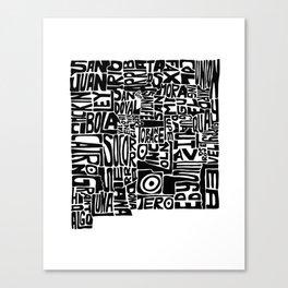 Typographic New Mexico Canvas Print