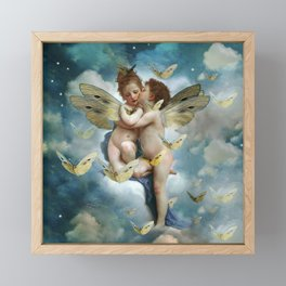 """Angels in love in heaven with butterflies"" Framed Mini Art Print"
