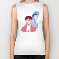 dad Biker Tanks featuring Red Dad Blue Dad by Saintly