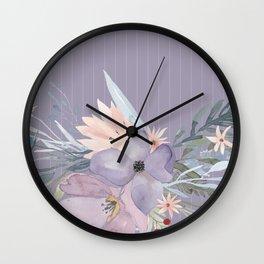 Striped Floral Lavender Bouquet Wall Clock
