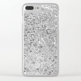 Vintage Map of Antwerp Belgium (1905) BW Clear iPhone Case