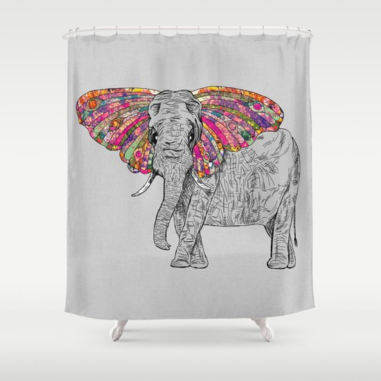 Bella The Happy Butterphant Shower Curtain