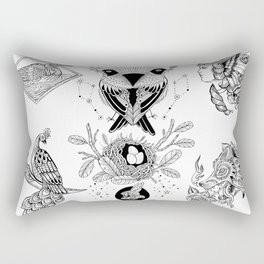 Black and White Tattoo Flash 1 Rectangular Pillow