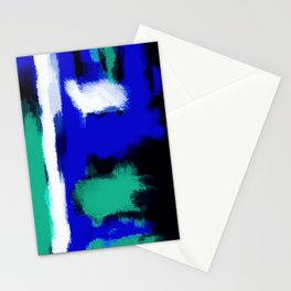 blue green and white painting texture with black background Stationery Cards