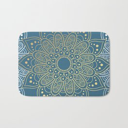 GOLDEN MANDALA ON BLUE Bath Mat