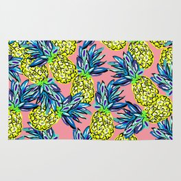 pineapples on flamingo pink Rug