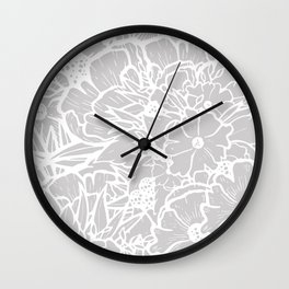 My World In Flowers - Gray Wall Clock