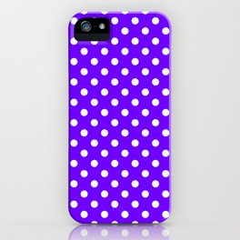 Small Polka Dots - White on Indigo Violet iPhone Case