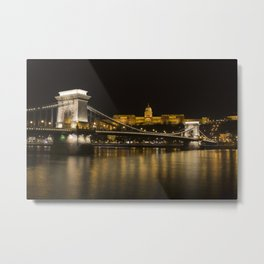 Budapest Chain Bridge And Castle Metal Print