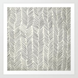 Herringbone Black on Cream Art Print