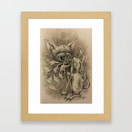 Demon Cat Breathes Smoke Framed Art Print