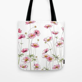Pink Cosmos Flowers Tote Bag