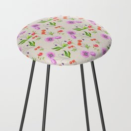 Poppy Pattern Neutral Counter Stool
