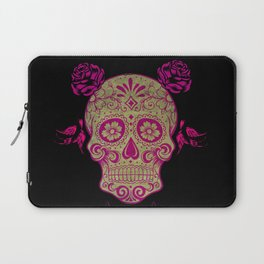 Sugar Skull Green and Pink Laptop Sleeve