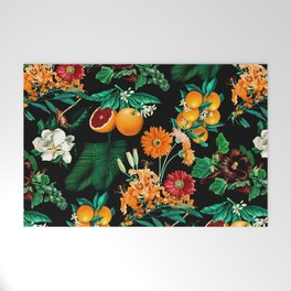 Fruit and Floral Pattern Welcome Mat