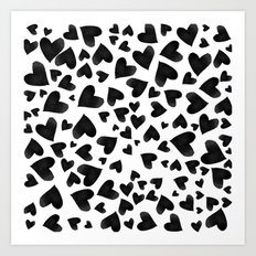 Modern black watercolor love hearts simple pattern Art Print