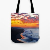 calendars Tote Bags featuring Sunrise Huntington Beach Pier   12/12/13 by John Minar Fine Art Photography