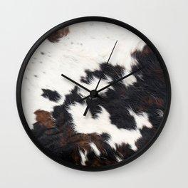 Brown Cowhide Wall Clock