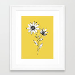 Wildflower line drawing | Botanical Art Framed Art Print