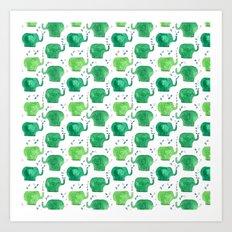 thousands of little green elephants Art Print