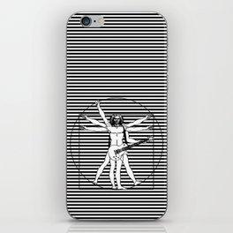 Vitruvian man - Les Paul guitar playing D-Chord (version with strips) iPhone Skin