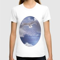 bible verses T-shirts featuring Seagull with Matthew 6:26-26 Verses by Photos and Images by Corri