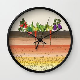 Earth soil layers vegetables garden cute educational illustration kitchen decor print Wall Clock
