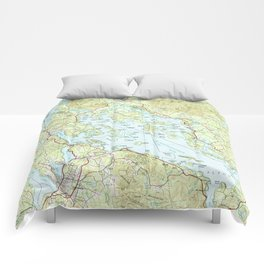Lake Winnipesaukee Map (1986) Comforters