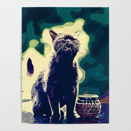 british shorthair cat ready to attack vector art foggy night Poster