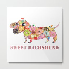 Sweet Dachshund, Watercolor Donut Pattern Illustration Metal Print