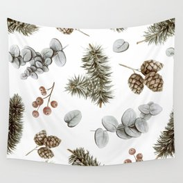 Retro Cozy Winter Cabin Water-colour Pattern Wall Tapestry