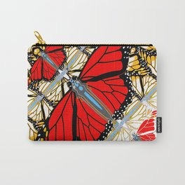 CONTEMPORARY RED BUTTERFLIES  ABSTRACT COLLAGE Carry-All Pouch