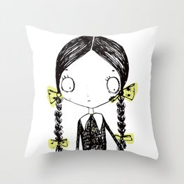 Wednesday Addams Illustrated Throw Pillow