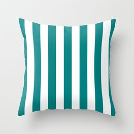 Vertical Stripes (Teal/White) Throw Pillow