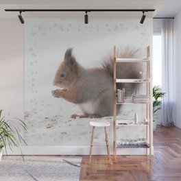 Squirrel And Lunch Pause Winter Scene #decor #society6 #buyart Wall Mural