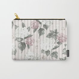 Bohemian pastel pink green floral stripes pattern Carry-All Pouch
